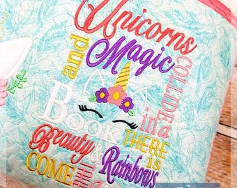 Unicorns and Magic Subway Art Embroidery Saying, Unicorn Pocket Pillow Saying, Reading Pillow