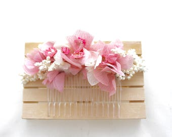 Flower,comb,hydrangea,pink,soft,white,ivory,bride,flower comb, wedding,boho,natural,pink,rose,white,comb,hairclip,fairy,dried,preserved