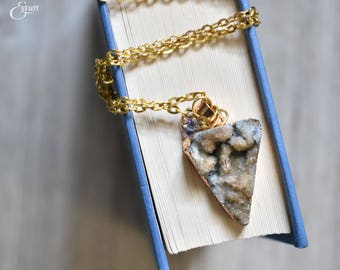 Blue Druzy Necklace | Delicate Jewelry | Gold Chain Necklace | Pastel Crystal Elements | Gold Elements