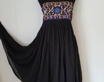 70s Black Gauze Colorful Embroidered Dress Bohemian Sundress | Labeled Size Medium