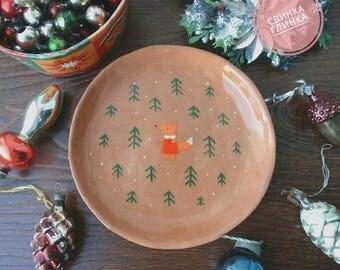 "Ceramic plate ""Little fox"""