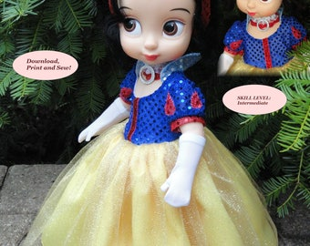 Doll Clothes PDF Sewing Patterns our inspired version of the beautiful Snow White  for the 16'' Disney Animator's Collection Doll