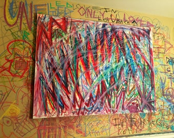 Untitled Abstract Oil Stick Painting on Canvas 36x48in.