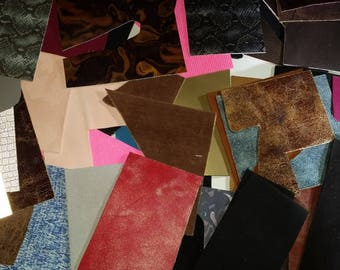 Leather Craft pieces, various Genuine leather remnants, leather scraps, Leather scraps by the pound, Earrings, jewelry, pieces,tear drop