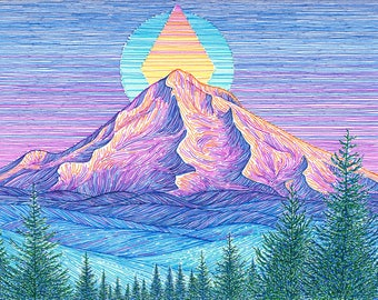 Mt Hood Sunset 9x12 Archival Print - Colorful Mountain Art Giclee - Mount Hood Portland, Oregon Landscape Drawing