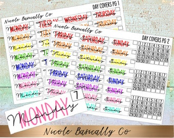TWO PAGE Rainbow Double Typed Day Covers With Fitted Date Squares