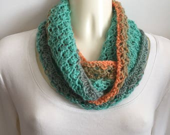 Hand knit colorful cowl, lacy infinity scarf, lightweight design cowl, green tan orange circle scarf, hand knit items, gift for her