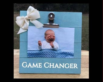 Game Changer - Funny Pregnancy Announcement frame. We're expecting twins/triplets/baby surprise gift pregnant ultrasound