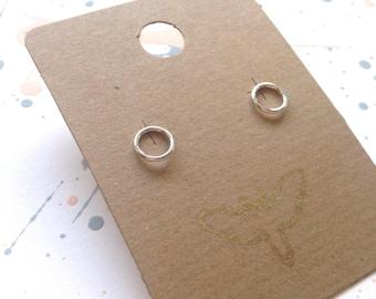Silver circle studs | Little stud earrings in sterling silver | Simple silver stud earrings.