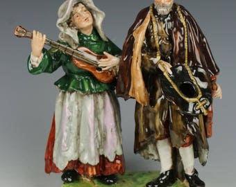 "Rudolstadt Ernst Bohne Sohne Figurine ""Old Man and Woman Beggars"""
