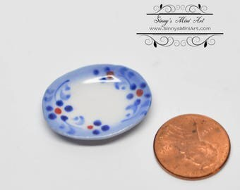 1:12 Dollhouse Miniature Blue Hue Patterned Ceramic Platter BD B074