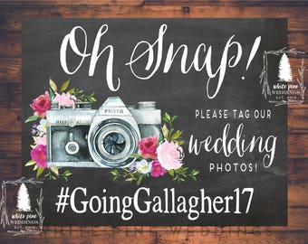 PRINTABLE Wedding Instagram Sign, Instagram Sign, Pink Wedding, Oh Snap sign, Pink floral, Chalkboard, hashtag sign, Social Media, blush