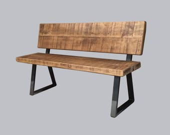 Industrial Reclaimed Timber BACKED Bench with Tri Base