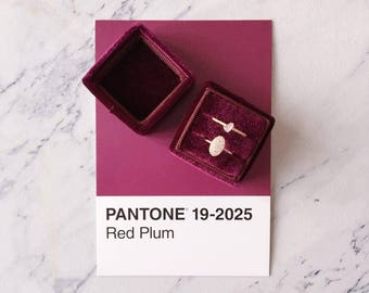 Ring Box - Velvet Ring Box - Vintage Style - Proposal Ring Box - Engagement ring box - Wedding - Personalized Gift - Double - Red Plum