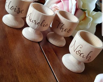 Personalised egg cups, wooden egg cup, personalised Easter gift, Easter egg holder, dippy egg cup, wood burned egg cup, custom eggcup gift