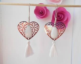 Flower of life heart earrings white tassel