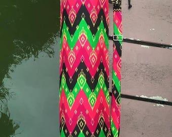 Handmade Chevron Style Thai Print Fabric Yoga Pilates Mat Bag Carrier