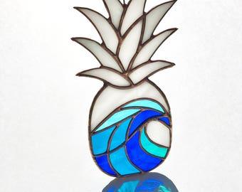Handmade Crashing Wave Pineapple Stained Glass