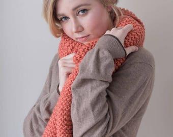 100% virgin wool Chunky Knit Scarf, long winter scarf, knit scarf.