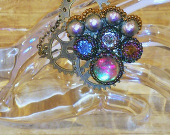 Steam Punk, Steampunk, Neo Victorian, ring,Luna Flash, antique gold, Blue, Brass, Swarovski