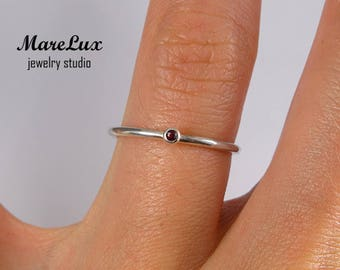 Natural Ruby Stacking Silver Ring, Dainty Ruby Stackable Ring July Birthstone Precious Gemstone 1.5 mm Round Cut Pink Ruby Stacking Ring