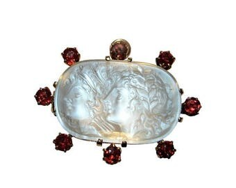 SALE 15% Off Phenomenal One-of-a-Kind Apollo & Daphne Carved Moonstone and Red Spinel Neo-Classical Pendant / Brooch
