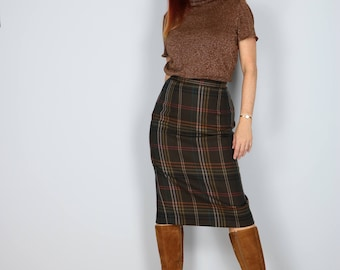 "1960s Skirt - Plaid Midi Pencil Skirt - Brown Multicoloured - Fall Winter - Wool Skirt - Classic Vintage Mad Men - Size Small 27"" Waist"