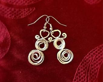 Snowmen Earrings, Christmas Earrings, Snowman Earrings, Wire Wrapped Snowman Earrings, Wire Wrap Earrings, Christmas Jewelry,