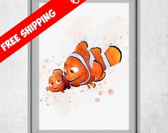 Finding Nemo Art, Nemo And Marlin Print, Disney Prints, Finding Dory Decor, Nursery Wall Art, Kids Room Wall Decorations, Free Shipping