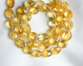 Citrine Faceted Oval Beads 100% Natural Gemstone Size 9x8.5 mm Approx.
