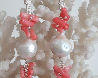 White Baroque pearl earrings, pink coral and brass coral