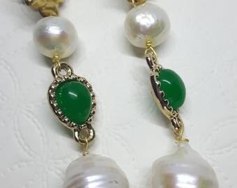 White Baroque pearl earrings and brass roses, pendant earrings