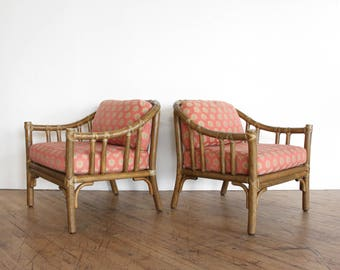 Vintage Mid Century McGuire Rattan Chairs  A 1 Club Chairs, Tiki, Coastal
