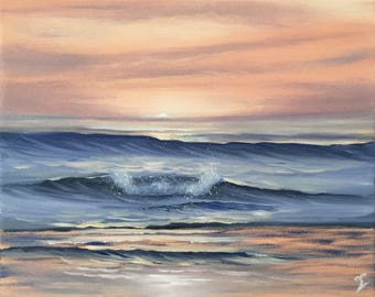 Ocean Painting, Sunrise Art, Coastal Landscape, Surf Art, Beach, Seascape, Original Small Oil Painting on Canvas, Amber Sunrise