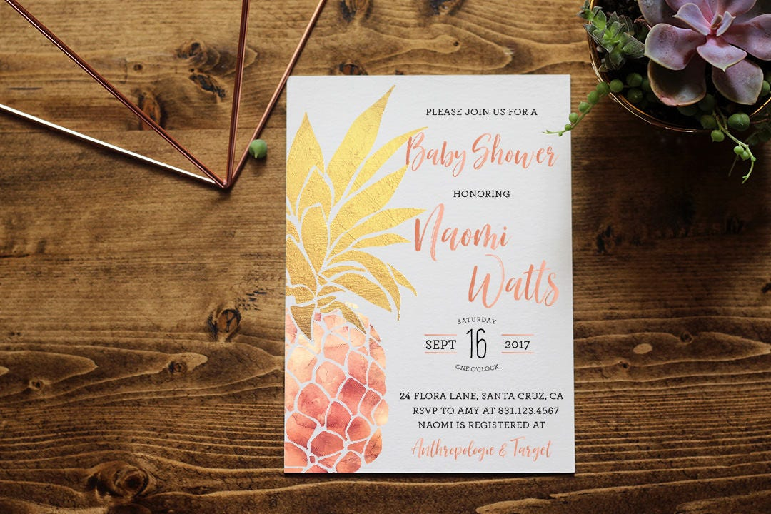 Pineapple Baby Shower Invitation Rose Gold + Gold | Tropical Aloha ...