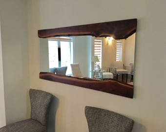 live edge walnut mirror black walnut mirror reclaimed wood mirror industrial mirror harvest wood mirror