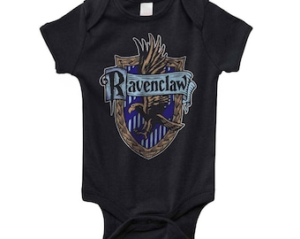 Ravenc #2 Crest color on Infant Baby Rib Lap Shoulder Creeper Onesie