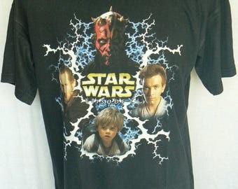 Vintage Star Wars Episode 1 Mens Graphic T-Shirt Size L Large Used