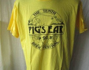 "Vintage 1991 PIG'S EAR The Tenth Beer Festival Mens Yellow T-Shirt Chest 48"" XL/2XL? Used Condition"