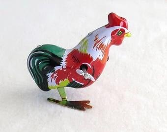"Mechanical Metal Toy - Hen, Clockwork Vintage Tin Pecking hen, Wind up toy Chicken, key clockwork hen with key, 5 cm - 2 """
