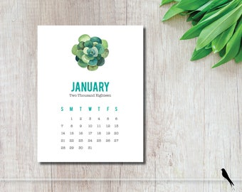 2018 Printable Calendar - Fun Succulent 12 Month Wall Calendar, Home, Office, Classroom Calendar, Command Center - Instant Download