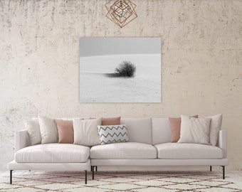 Black and White Photography, White Sands New Mexico, Minimalist Wall Art, Modern Art Print, Calming Wall Decor