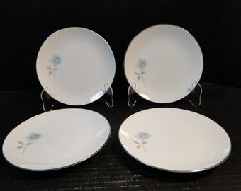 "FOUR Noritake Simone Bread Plates 6407 White Blue Rose 6 3/8"" Set of 4 EXCELLENT!"