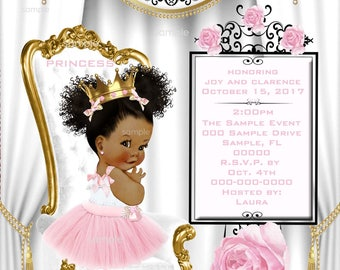 Baby Shower Invitation, African American Baby Girl, Personalized,Printable,pink,white,gold:# 076-PWG-bsi-aa-hanging pearl-drop) or 076a-PWG-