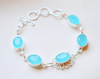 Adjustable Blue Chalcedony Quartz Bracelet - Sterling Silver Handmade Bracelets - Quartz Bracelet #12