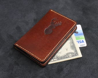 Leather Card Holder Credit Card Holder Mini Pocket Wallet - Brown Leather