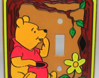 Winnie the Pooh, Disney, Light Switch Cover, Vintage Disney Single light switch cover, Pooh Bear Switch Plate, 1980's