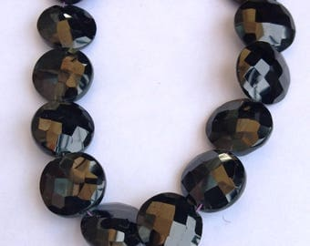 "1 Strand Natural Black Onyx 14-15mm Faceted round coin shape Gemstone Beads 10"" long strand By SHAMSHAD GEMS"