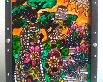 African, women, painting, hand painted, painted glass, glass, framed, zentangle