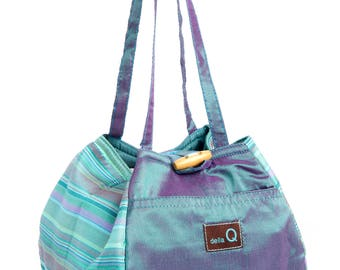 Della Q Rosemary Project Bag Decatur or Columbia Limited Edition Cotton Prints and Silk Purple Red Seafoam Ocean Knitting Project Bag